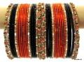 Orange, Black & Gold Color Beautiful Indian Ethinc Belly Dance Costume Matching Bangles Bracelet set