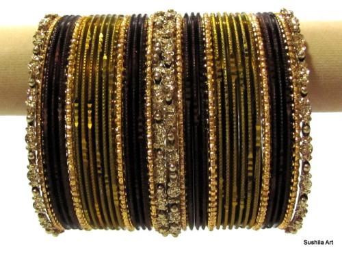Antique Mehendi Green Indian Belly Dance Ethnic Metal Bangles Bracelet set