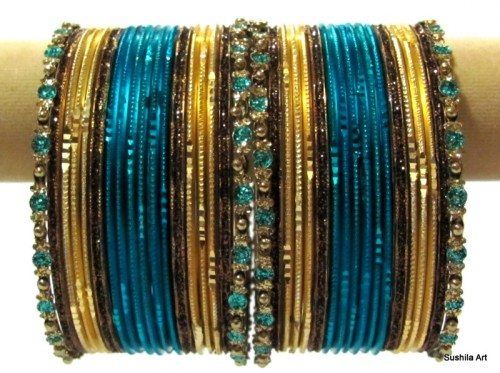 Set of 36 Indian Belly Dance Ethinc Metal Bangles Set Deep Turquoise & Gold