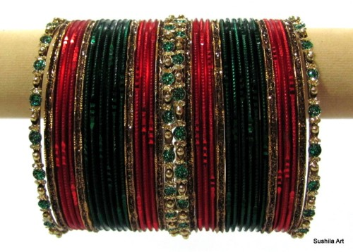 Green Maroon Set of 36 Indian Belly Dance Bangles Bracelets