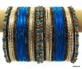 Blue, Cream & Antique color Bollywood Bangles set of 36 Indian Ethnic Bangles