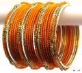 Orange & Gold Color Indian Belly Dance Costume Bangles Bracelet set of 24