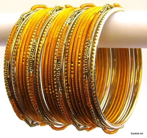 Gold & Golden Color Indian Belly Dance Costume Bangles Bracelet set of 24
