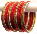 Red & Gold Color Indian Belly Dance Costume Bangles Bracelet set of 24