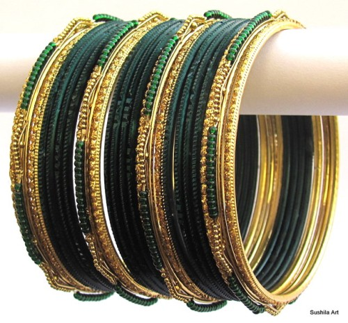 Bottle Green & Gold Color Indian Belly Dance Costume Bangles Bracelet set of 24