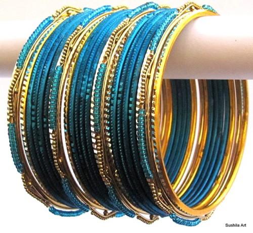 Blue & Gold Color Indian Belly Dance Costume Bangles Bracelet set of 24
