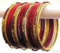 Maroon & Gold Color Indian Belly Dance Costume Bangles Bracelet set of 24