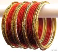 Rust & Gold Color Indian Belly Dance Costume Bangles Bracelet set of 24