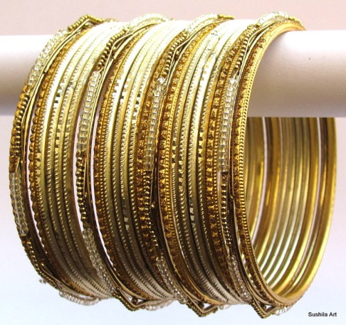Cream & Gold Color Indian Belly Dance Costume Bangles Bracelet set of 24