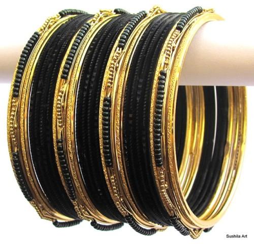 Black & Gold Color Indian Belly Dance Costume Bangles Bracelet set of 24