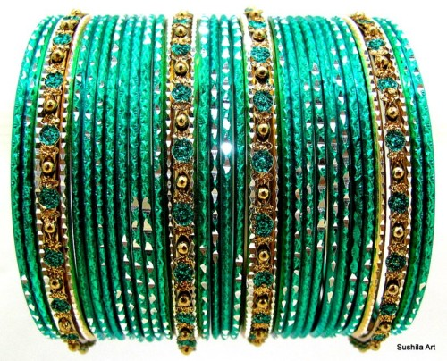 Beautiful Indian Bangles Set Metal Bracelet Aqua Green & Gold Color