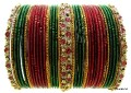Green, Maroon & Gold Color Indian Bangles set Belly Dance Costume Bracelets