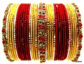 Indian Bollywood Belly Dance Metal Bangles Set Red & Yellow Bracelet