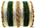 Bottle Green, White & Gold Contrast Matching Color Indian Bollywood Bangles Set.