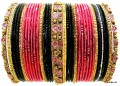 Pink, Black & Gold Color Bollywood Indian Metal bangles Set Bracelets