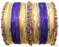 Beautiful Indian Bangles Set Metal Bracelet Violet, Cream & Gold Color