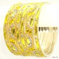 Lemon Yellow Color Indian Bangles Ethnic Belly Dance Metal Bracelet Set