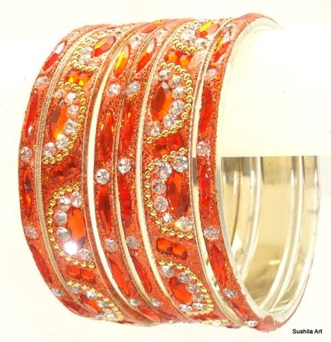 Orange Color Indian Bangles Bollywood Ethnic Metal Bracelet Set