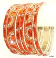 Orange Color Indian Bangles Bollywood Ethnic Metal Bracelet Set