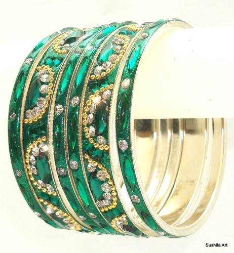 Sari Matching Indian Bangles Bottle Green Color Ethnic Metal Bracelet