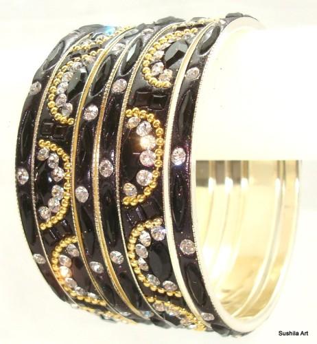 Black & Gold Indian Bangles Jewellery Fashion Bracelet Set Of 6
