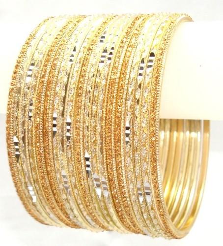 Bollywood Cream & Golden Color Indian Bangles Metal Bracelet Set
