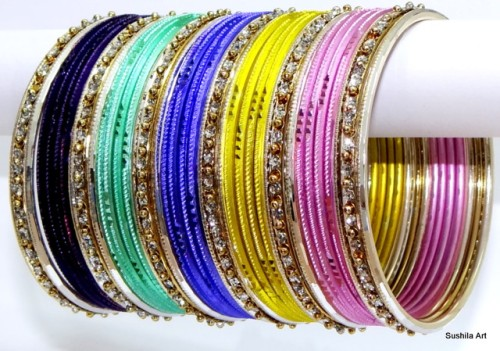 Costume Dress Sari Matching Indian Ethnic Multi-Color Metal Bangles Bracelet Set