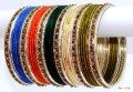 Bollywood Indian Ethnic Bangles Multicolor Maching Fashion Metal Bracelet Set