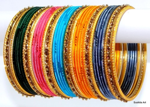 Amazing Multicolor Indian Fashion Matching Bangles Metal Bracelet Set of 38
