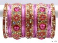 Baby Pink Color Indian Ethnic Belly Dance Metal Bangles Matching Bracelet Set