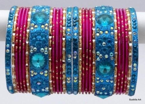 Indian Ethnic Belly Dance Metal Bangles Turquoise & Rani Color Bracelet Set