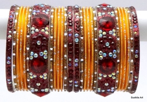 Deep Maroon & Orange Gold Tone Indian Bangles Sari Matching Bracelet set