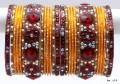 Deep Maroon & Orange Gold Tone Indian Bangles Sari Matching Bracelet set