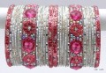 Indian Ethnic Metal Bangles Silver White & Baby Pink Color Bracelet Set Of 26