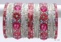 Indian Ethnic Metal Bangles Silver White & Baby Pink Color Bracelet Set Of 26