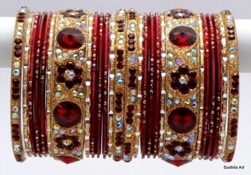 Beautiful Maroon & Golden Color Indian Bangles Sari Matching Bracelet set