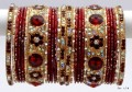 Beautiful Maroon & Golden Color Indian Bangles Sari Matching Bracelet set