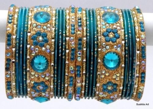 Turquoise & Golden Color Indian Bangles Costume Matching Bracelet Set