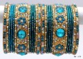 Turquoise & Golden Color Indian Bangles Costume Matching Bracelet Set