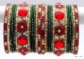 Indian Ethnic Belly Dance Metal Bangles Maroon Red & Bottle Green Bracelet Set