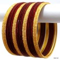 Maroon & Golden Color Indian Bangles Bollywood Costume Bracelet Set
