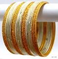 Cream & Golden Color Indian Bangles Bolywood Costume Metal Bracelet Set
