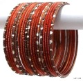 Copper Tone Indian Bangles Jewellery Costume Matching Bracelet Set