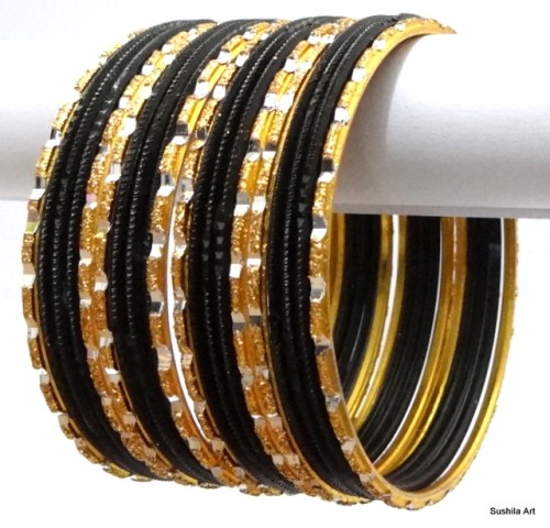 Black & Gold Indian Bangles Jewellery Belly Dance Fashion Bracelet Set