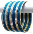 Teal Blue & Silver Indian Bangles Jewellery Bollywood Fashion Bracelet Set