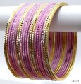 Indian Ethnic Belly Dance Metal Matching Bangles Baby Pink Bracelet Set