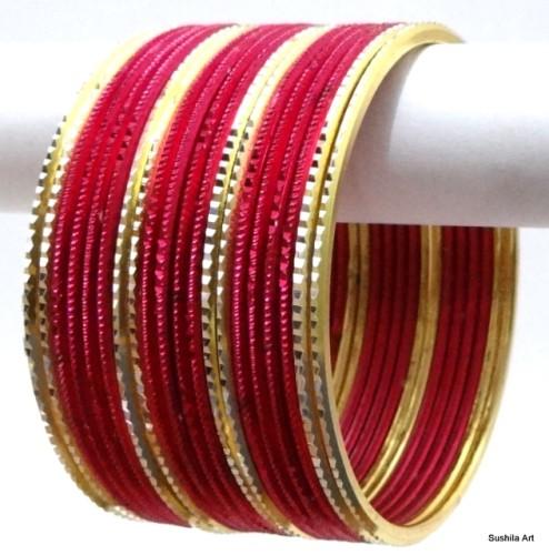 Hot Pink/Rani Indian Ethnic Belly Dance Bangles Dress Metal Bracelet Set