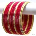 Hot Pink/Rani Indian Ethnic Belly Dance Bangles Dress Metal Bracelet Set