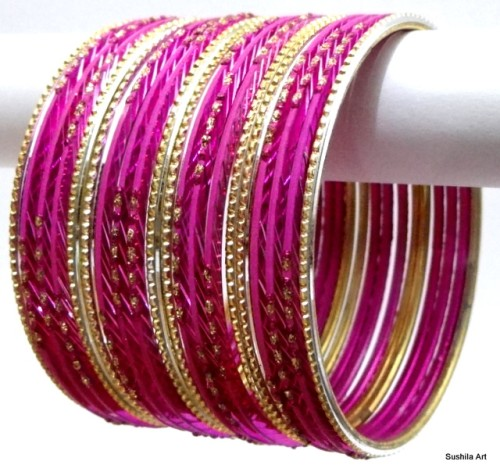Beautiful Ethnic Belly Dance Indian Bangles Hot Pink/Rani Color Bracelet Set