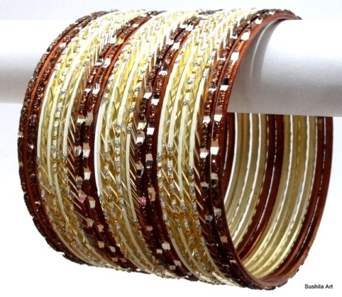 Cream & Brown Color Indian Bangles Ethnic Belly Dance Metal Bracelet Set